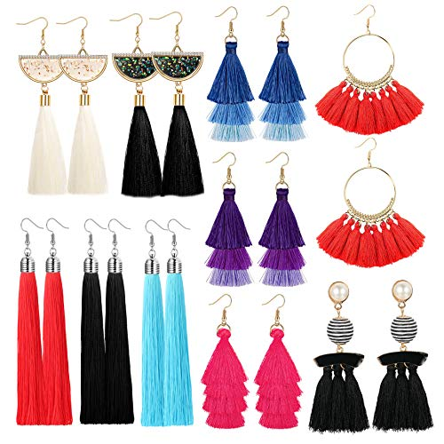- Yadoca 10 Pairs Tassel Earrings for Women Colorful Long Layered Thread Dangle Fringe Drop Earrings Fan Shaped Hook Earrings for Girls Fashion Bohemian Style