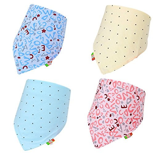 Cute Baby Bandana Drool Bibs For Feeding & Teething. 100% Cotton Personalized Scarf Bib. Fancy, Cute Baby Bibs And Burp Cloth Are Water Proof, Multi Layers. Bibs For Shower, Holiday, Christmas Gift.