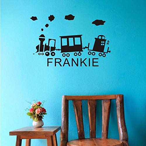 LLHLLH Custom-Made Personalized Name Cartoon Train Rail Vinyl Wall Sticker Kids Nursery Bedroom Decor-You Choose Name and Color 90X53CM