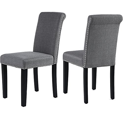GOTMINSI Set of 2 Stylish Fabric Dining Chairs with Solid Wood Legs (Gray)