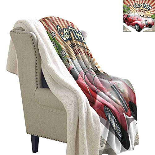 - Benmo House Blanket Small Quilt Cars,Car Trip Theme Old Fashioned Automobile Enjoy Holiday Fun Retro Travel Composition,Multicolor Flannel Throw Blanket Lightweight Soft Warm Blanket 60x47 Inch