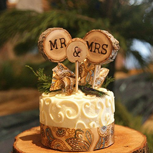3 Pcs Mr&Mrs Toppers Natural Wood Cake Decoration Chic Rustic Wedding Mr Mrs Letter Topo for Couple Sweetheart Party…