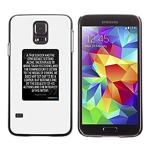 rígido protector delgado Shell Prima Delgada Casa Carcasa Funda Case Bandera Cover Armor para Samsung Galaxy S5 SM-G900 /White Text Inspiring Quote/ STRONG