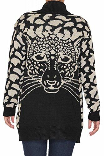 las mujeres con estilo abierto drapeado de punto leopardo temático / grueso Imprimir Cardigan Negro