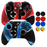 xbox one controller covers - Hikfly Silicone Controller Cover Skin Protector Case Faceplates Kits For Xbox One X/One S/Slim Controller With 8pcs Thumb Grips Caps(Camouflage Blue and Red)