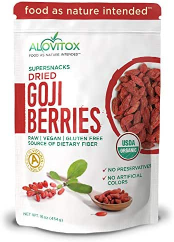 Alovitox Organic Goji Berries | Raw, Vegan, Gluten Free Super Snack | High in Plant Based Protein, Dietary Fiber, Vitamin A & Iron | Extra Large Berries for Eating, Trail Mixes, Cereals or Smoothies