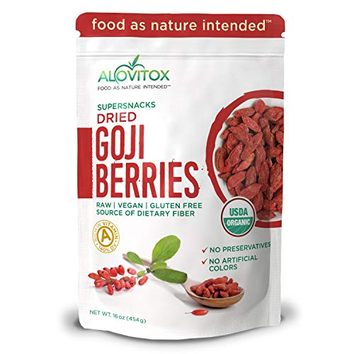 Alovitox Organic Goji Berries | Raw, Vegan, Gluten Free Super Snack | High in Plant Based Protein, Dietary Fiber, Vitamin A & Iron | Extra Large Berries for Eating, Trail Mixes, Cereals or Smoothies (Best Dried Fruit For Iron)