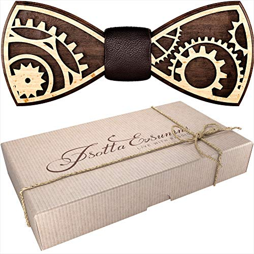 Wooden Bow Tie for Men, Women, Boys and Girls - Pre-Tied Bow Ties Formal Solid Tuxedo for Adults & Kids Adjustable Length - Best Gift for Loved Ones - Wedding Party Accessories for Fiance (Gear)