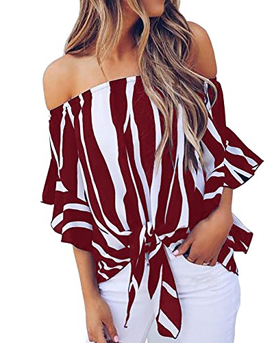 Blanycool Womens Striped Summer Off The Shoulder Tops 3/4 Ruffle Sleeve Sexy Floral Chiffon Tie Knot T Shirt ()