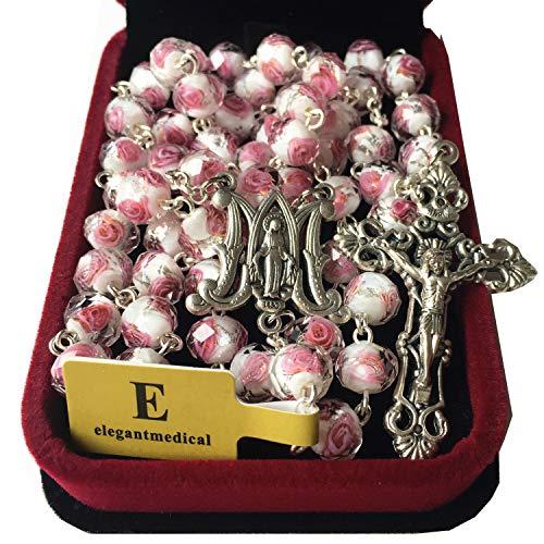 elegantmedical Handmade Rose Pink Veluriyam Rose Beads Rosary & Italy Cross Medal Catholic Necklace Gift -