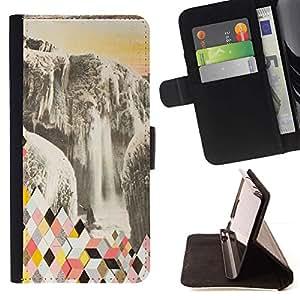 Momo Phone Case / Flip Funda de Cuero Case Cover - Resumen Polígono Glaciar - LG G4c Curve H522Y (G4 MINI), NOT FOR LG G4