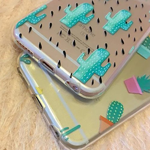 2x custodia per iPhone 6, Custodia protettiva posteriore in silicone morbido per iPhone 6 4,7 pollici case cover, cactus
