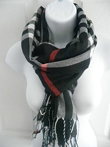 Black_PLAID/CHECK Lady Women Blanket Oversized Tartan Unisex (US Seller)