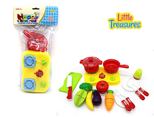 Little Treasures Fruits & Vegies Chef Toy Set with Duel Burner Range Cooker, Frying Pan and Pot as well as Toy Vegetables and Utensils -
