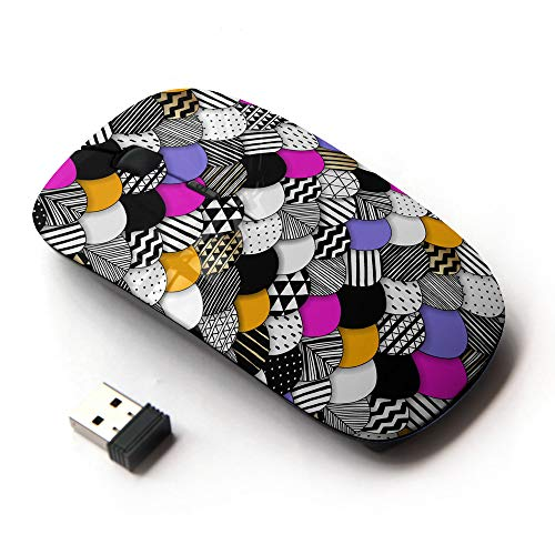 (Planetar Wireless 2.4G Computer Laptop Mouse Mice/Geometric Mosaic Art Print Scales)