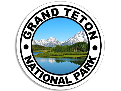 American Vinyl Round Grand Teton National Park Sticker (Camp rv Hike Hiking) (National Park Sticker Teton)