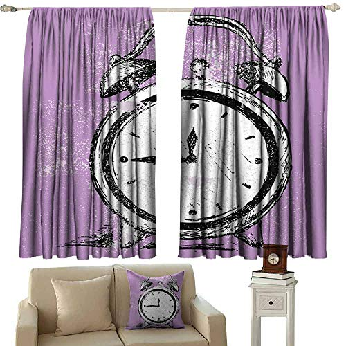 Decor Curtains Doodle Retro Alarm Clock Figure with Grunge Effects Classic Vintage Sleep Graphic Tie Up Window Drapes Living Room W55 xL63 Purple White Black
