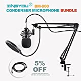 ZINGYOU Condenser Microphone Bundle, BM-800 Mic Kit with Adjustable Mic Suspension Scissor Arm, Shock Mount and Double-layer Pop Filter for Studio Recording & Broadcasting
