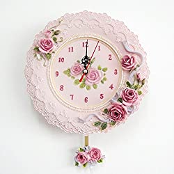 BYLE Non Ticking Battery Operated Decorative Creative Modern European Style Garden Resin Rose Art Clock Living Room Interior Wall Clock