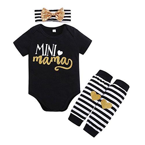 OUTGLE Newborn Baby Girl Black Romper + Bow Headband + Leg Warmer Clothing Set Summer Spring Outfits (0-6 Months) ()