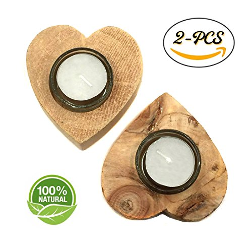 t-Shaped Tea Light Candle Holders, Personalized Wooden Candle Holder, Natural Wood Candle Holders for Rustic Wedding, Party, Birthday, Holiday Decoration (Heart Shaped Tealight Holder)