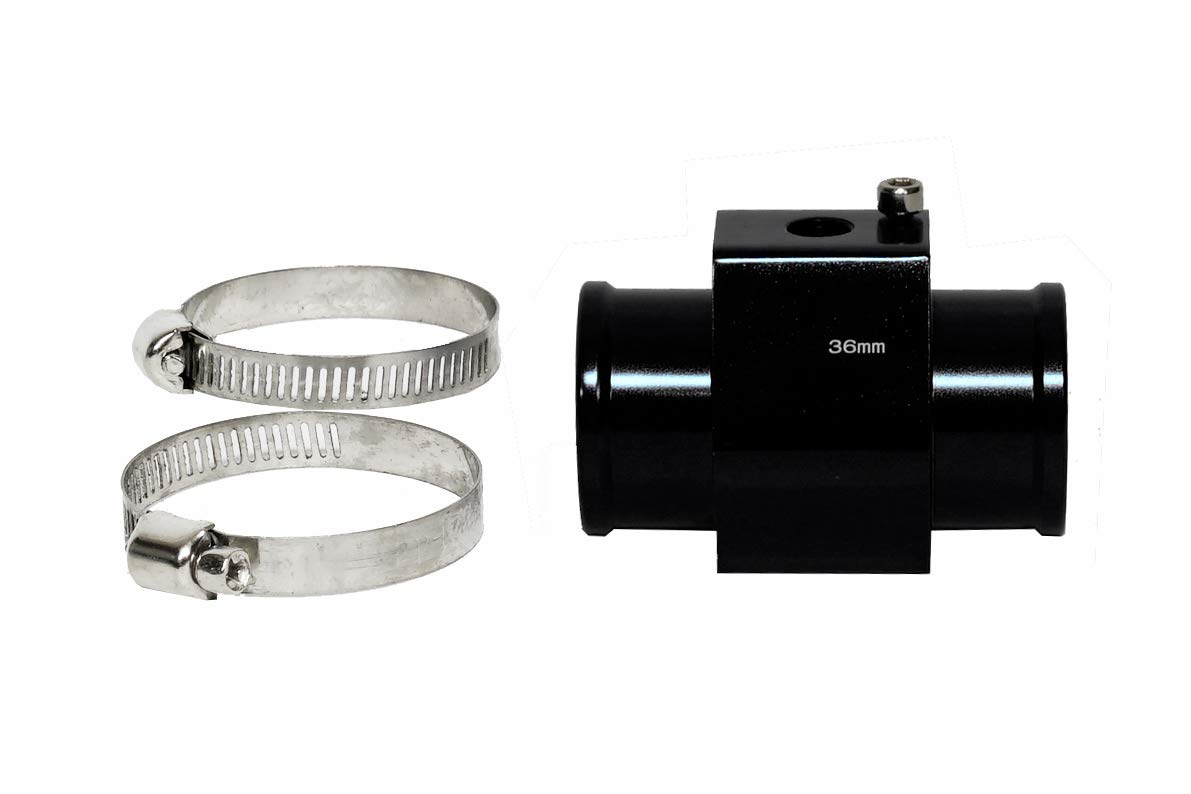 CarXX Water Temperature Sensor Adapter Temperature Gauge Radiator Hose Adapter Black, 34mm