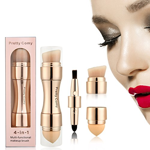 4 in 1 Makeup Brush Set, Eyeshadow Eye Lip Face Concealing Blush Foundation Brush by Pretty Comy by Pretty Comy