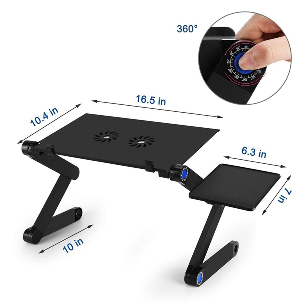 Adjustable Foldable Bed Table Laptop Desk Stand Holder for MacBook Notebook with Two Fan