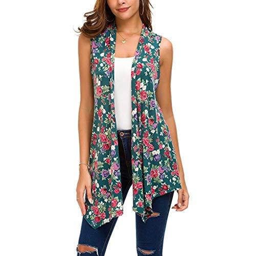 Pervobs Women's Sleeveless Draped Open Front Cardigan Vest Loose Floral Irregular Hem Thin Blouse Tops(M, Green)
