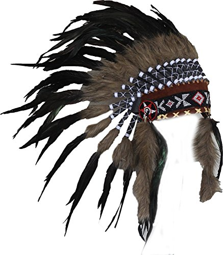 N63 Short Rooster Feather Headdress | Native American Indian Inspired.