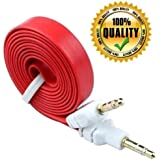 eCosmos Flat Aux Stereo 3.5mm Music Transfer Cable for Mobiles and Speakers (Random Colors)