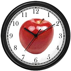 Red Apple 4 Wall Clock by WatchBuddy Timepieces (Hunter Green Frame)