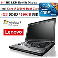 Lenovo ThinkPad T430 14-Inch Laptop Computer (Intel Dual Core i5 2.5 GHz Processor, 4GB Memory, 240GB SSD, WiFi, Webcam, DVD, Windows 7 Pro 64 Bit) (Certified Refurbished)