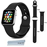 Apple Watch Band , Honest kin Soft Silicone Replacement Sport Band for 42mm Apple Watch [5.5-8.3 Inch Wrist] [3 Pieces of Bands Included for 2 Lengths] (Not Fit 38mm Version) (Black S/M/L 42 mm)