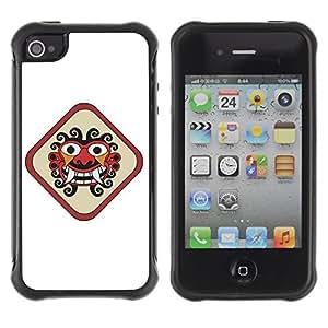 Hybrid Anti-Shock Defend Case for Apple iPhone 4 4S / Inca Face