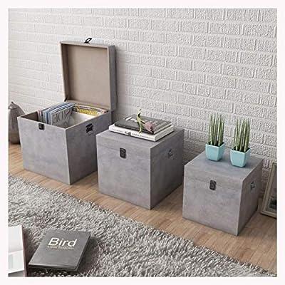 K&A Company Storage Box Concrete 3 pcs Square Gray MDF