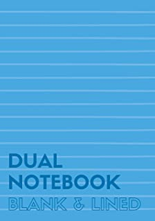 Dual Notebook Blank & Lined: Half Letter Size Notebook with