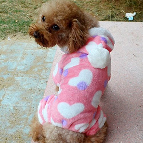Image of haoricu Pet Clothing, Velvet Hoodie Dog Costume Small Dog Cat Pet Clothing Puppy Apparel Dog Autumn Winter Jumpsuit (XL, Pink)