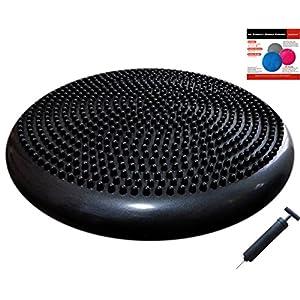 AppleRound Air Stability Wobble Cushion with Pump, 34cm/13.5in Diameter, Balance Disc, Sensory Wiggle Seat (Black)