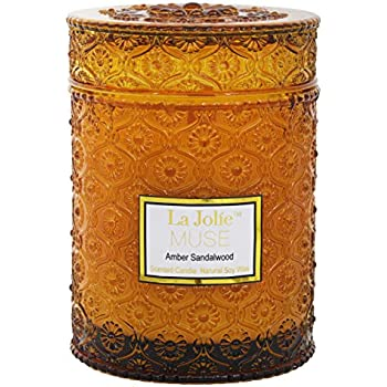 LA JOLIE MUSE Wood Wick 21Oz Sandalwood Scented Candles Soy Wax Candle Large Glass Jar 90 Hours, Gift Candle