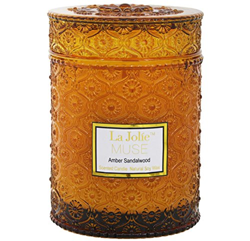 Wood Wick Sandalwood Scented Candles 21Oz Soy Wax Candle Large Glass Jar 90 Hours, Gift Candle for Her - Glass Wood Candle