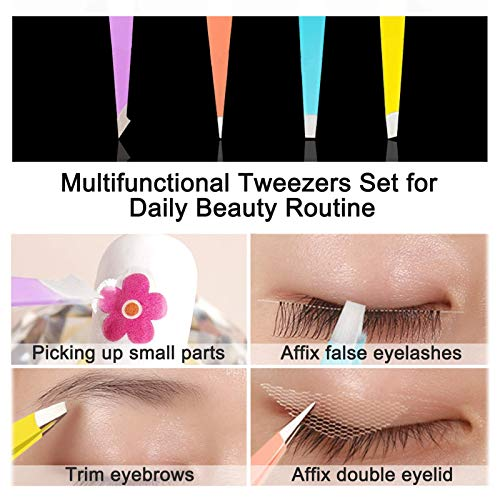 2021NEWEST SHZDMH 4-Piece Combination Tweezers Set-Pastel Color Ladies Gift with Leather Case
