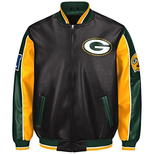 G-III Sports Green Bay Packers Leather Legend Faux Leather PVC Jacket - Bay Leather Jacket
