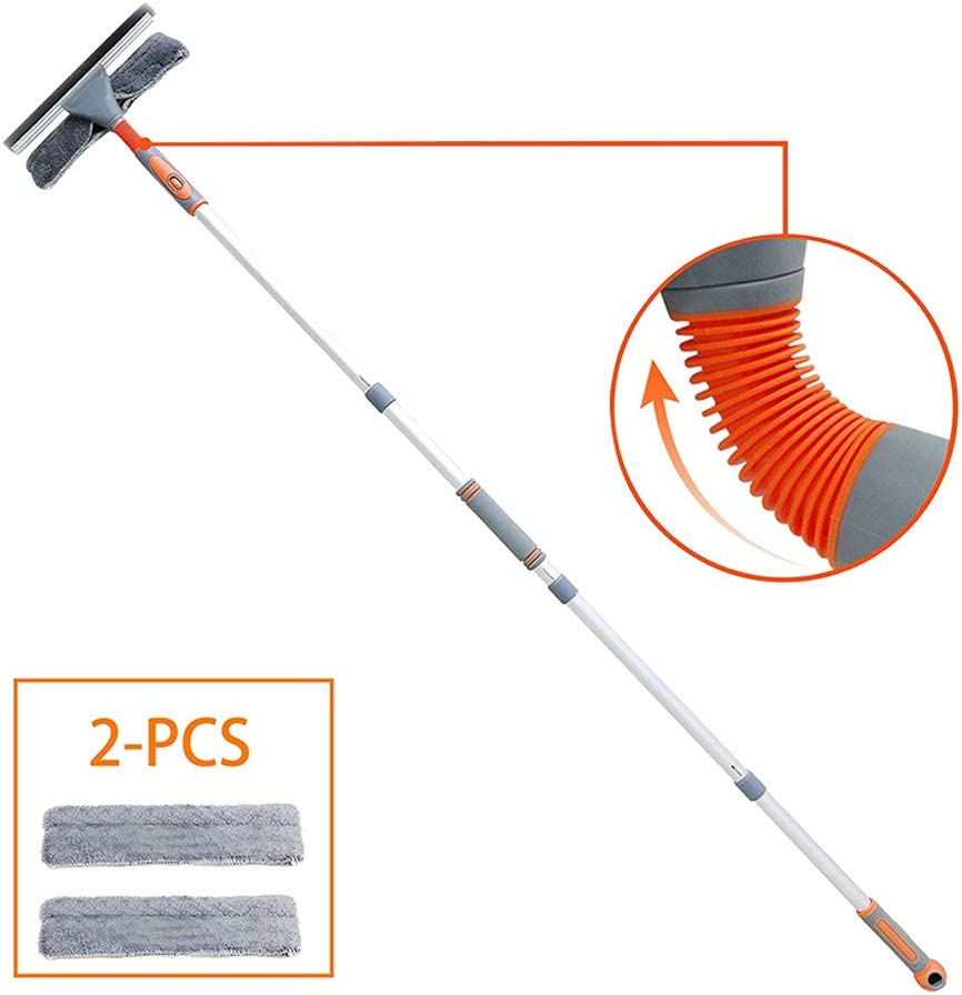 ASOSMOS Telescopic Window Squeegee Cleaner with Extension Pole Glass Cleaning Tools with 2 Washing Cloth for Indoor Outdoor
