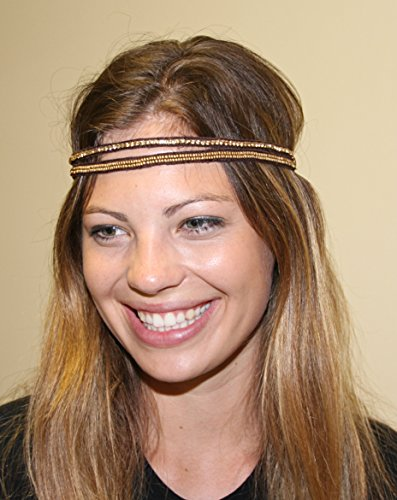 PAULA - GL -Regalia Beaded Rhinestone Stretch No Slip Headband (Hair Jewelry)