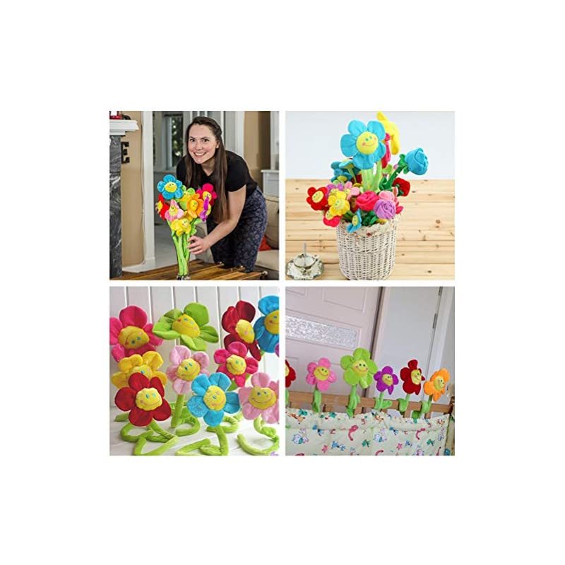 silk flower arrangements sushafen 16pcs artificial plush sunflower daisy flower toy bendable curtain buckle tiebacks birthday wedding party gift decor fairy wands stick performance props novelty school prize gifts
