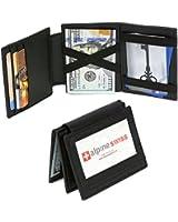 Genuine Leather Magic Wallet 1 ID Window 9 Card Slots 2 Sided Magic Billfold