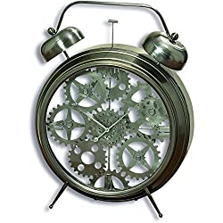 The Iconic Exposed Gears Clock, 2 Ft 6 Tall, Glass Case Clock Work Wheels, Cogs, Analog, Quartz Movement, 1 AA Battery Required, Polished Gray lron Case, Exclusive, By Whole House Worlds
