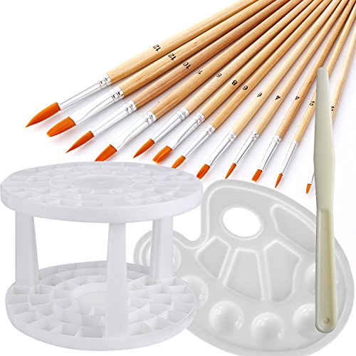 12pcs Acrylic Oil Paint Brushes- a Paint Palette Tray - a Brushes Organizer, Usparkle Art Supplies Kids Art Set With Round Flat Angle Filbert Fan Points For Craft Face Body Art Painting (Angle Fan Brush)