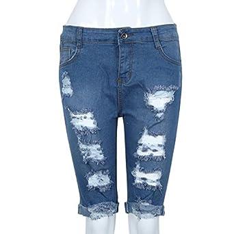 7bb9311d76 Amazon.com: iDWZA Sexy Women Girl Elastic Hole Leggings Short Pants Denim  Shorts Ripped Jeans: Clothing